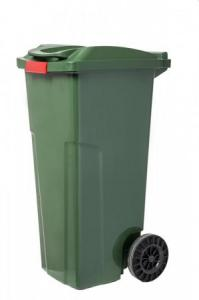 Műanyag szemetes kuka ZÖLD rögzíthető fedéllel 120 L