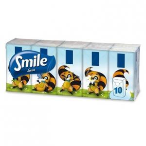 Papírzsebkendő Smile 3 rétegű 10 tasak/csomag
