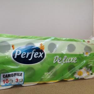 Toalettpapír kistekercses Perfex Deluxe kamillás 3 rtg. 18 m.10 tek/csom