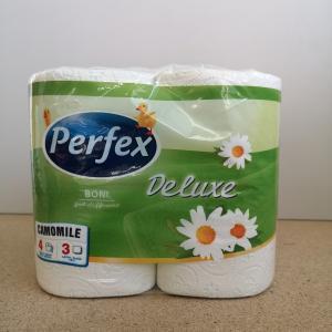 Toalettpapír kistekercses Perfex Deluxe kamillás 3 rtg. 4 tek/csom